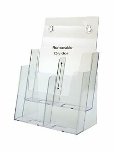 Lot Of 12 Acrylic Magazine Rack Tri Fold Brochure Holder 2 And 4 Pocket Display