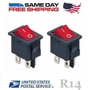 2 X Dpst Double Pole Single Throw 4 pin on off 10amp Red Led Rocker Switches