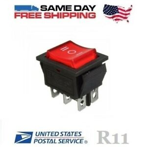 Dpdt Double Pole Double Throw 6 pin on off on 20amp Red Led Rocker Switch