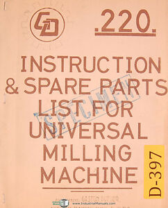 Dufour Gaston No 220 Universal Milling Mahcine Instructions And Parts Manual