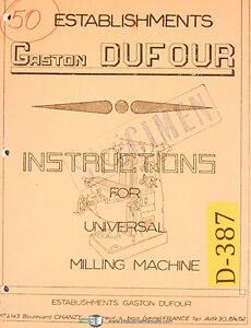Dufour Gaston No 50 Universal Milling Machine Instructions Manual