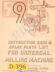 Dufour Gaston No 59 Universal Milling Machine Instructions And Parts Manual