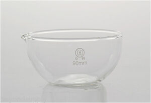 Lab Glass Evaporating Dish Flat Bottom With Spout 90mm New