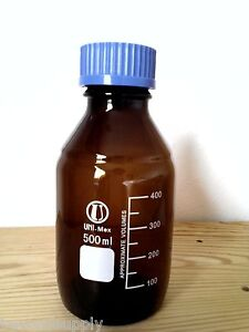Lab Glass Amber Culture Media Bottle W Cap Autoclavable Reagent 2000 Ml New