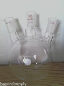 Lab Glass Flask 3 Neck Three Neck Round Bottom 2000ml 24 40 New