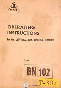 Tos 102 Bn102 Universal Grinding Operations And Assembly Drawings Manual