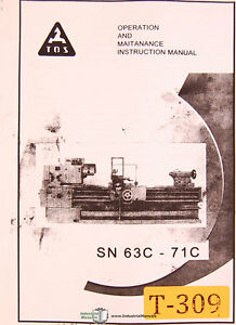 Tos 63c 71c Lathe Operations Maintenance And Electrical Manual 1962