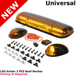 3pcs Amber Led Cab Roof Top Lights Marker Lamps Amber Running Complete Kit