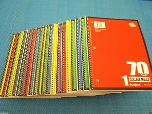 Spiral Notebook 40 Note Books Lot College Ruled One Subject 70 Sheets Each