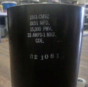 Mica Type 2861 cm92 Rf Capacitor 0051mfd 15000pwv 33amps 1mhz cde