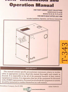Torit 50 60 70 80 Cyclone Models Dust Collector Operations Schematics Manual