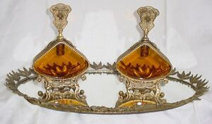 Fine Large Old Perfume Bottles Gold Gilt Ormolu Amber Beveled Glass Vanity Tray