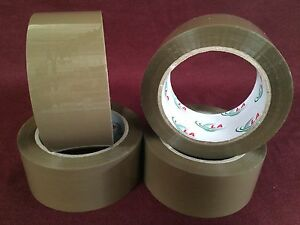 4 Rolls Brown tan Packaging Tape 2 x110 Yards 330 feet Low Noise Packing Tape