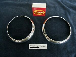 Willys Kaiser Amc Jeep Chrome Headlamp Bezels Pair 1948 1971 New Nice
