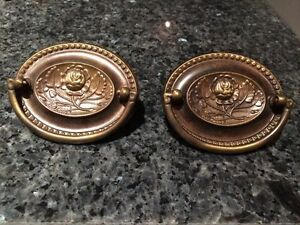 2 Antique Brass Ring Pulls With Backs Very Rare