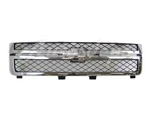 For 2011 2014 Chevy Silverado 2500hd 3500hd Grille Dark Gray With Chrome Frame