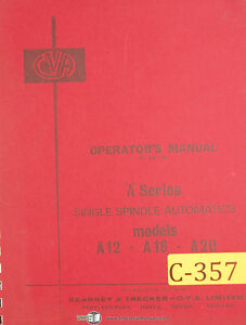 Cva Kearney Trecker A Series A12 A16 A20 Operators Manual 1966