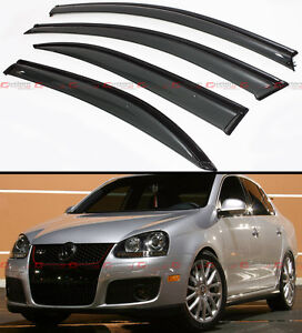 Smoke Tinted Clip On Window Visor W Black Trim For 2006 2010 Vw Mk5 Jetta Sedan