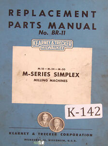 Kearney Trecker M Series Br 11 Milling Machine Parts Manual 1941
