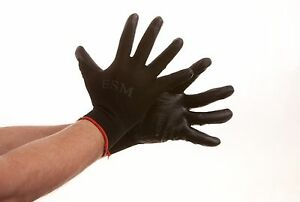 10 Pairs Premium Black Nitrile Rubber Coated Palm Work Gloves
