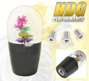 Universal 90mm Multi Color Flower Clear Shift Knob Screw On Interchangeable Mt