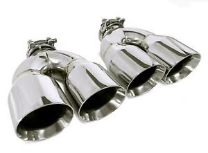 Pair Stainless Steel Universal Dual Exhaust Tips 3 5