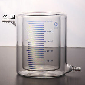500ml Double Layer Interbed Interlayer Glass Beaker Photocatalytic Reactor Lx