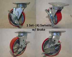 6 X 2 Swivel Caster Kingpinless Brk Polyurethane Wh On Steel 1200lb Tool Box