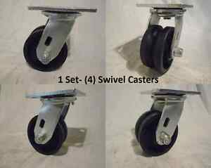 4 X 2 Swivel Caster 7 8 V groove Iron Steel Wheel 600 Lbs Each 4