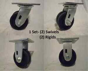 4 X 2 Swivel Caster 7 8 V groove Iron Steel Wheel 2 And 2 Rigid 600lbs Ea