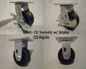 4 X 2 Swivel Caster Brk 7 8 V groove Iron Steel Wheel 2 2 Rigid 600lbs Ea