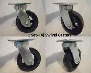 6 X 2 Swivel Caster Kingpinless W Rubber Wheel On Steel Hub Tool Box 4