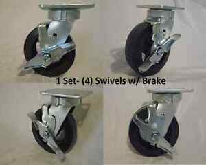 6 X 2 Swivel Caster Kingpinless W Brk Rubber Wheel On Steel Hub Tool Box 4