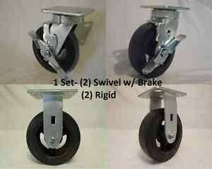 6 X 2 Swivel Caster Kingpinless W Brk Rubber Wheel On Steel