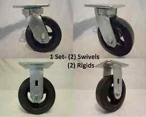 6 X 2 Swivel Caster Kingpinless Rubber Wheel On Steel Hub 2 Rigid 2 tool Box