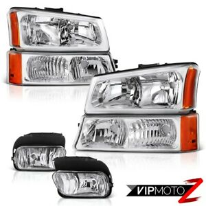 2003 2006 Chevy Silverado Chrome Factory Style Bumper Headlights Fog Lamps Kit