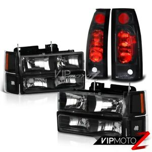 1994 1998 Chevy Ck 1500 2500 3500 Silverado 10pc Black Headlights Tail Lights