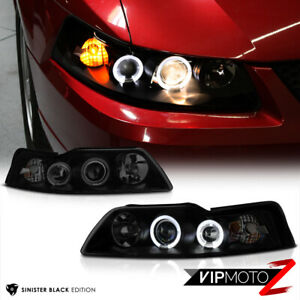 sinister Black 1999 2004 Ford Mustang Halo Angel Eye Projector Headlights Pair