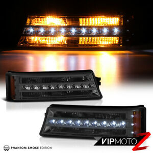 03 06 Chevy Silverado Smoke Tinted Led Bumper Turn Signal Drl Parking Lamp Light
