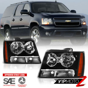 For 07 14 Chevy Suburban Tahoe Avalanche 1500 2500 Black Headlight Head Lamp L R