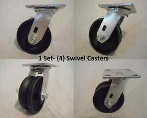 5 X 2 Swivel Caster V groove 7 8 Iron Steel Wheel 900lbs Each 4