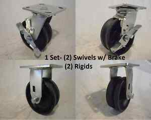 5 X 2 Swivel Caster Brk V groove 7 8 Iron Steel Wheel 2 2 Rigid 900lbs Ea
