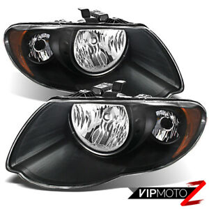 2005 2006 2007 Chrysler Town Country Black Direct Replacement Pair Headlights