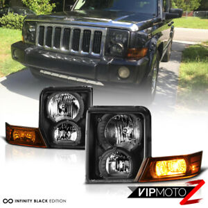 For 06 10 Jeep Commander Suv Black Amber Front Left Right Headlights Assembly