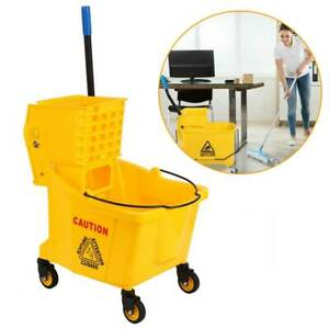 36l Commercial Mop Bucket Side Press Wringer Trolley Cart Wheels Cleaning
