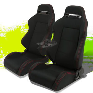 2 Universal Light Weight Reclinable Type r Black Racing Seats Red Stitch sliders