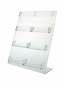 8 Pocket Clear Acrylic Slant Back Counter Top Business Card Holder Display Stand