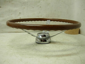 1960s Superior 500 Walnut 16 Steering Wheel W Hub Horn Amc Chevy Ford Mopar