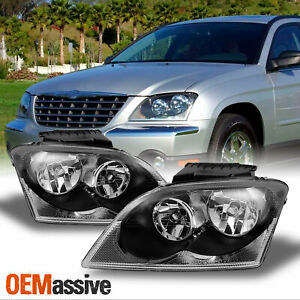 Fit 2004 2005 2006 Chrysler Pacifica Suv Black Headlights Headlamps Replacement