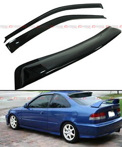 For 1996 2000 Honda Civic Coupe Si Em Ej Smoke Rear Window Visor Door Visors